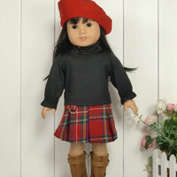 3pcs set 1hat+1 shirt +1 Dress The Scotland Dress Suit For 18 Inch American Girl Doll 45cm Doll Accessories