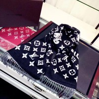 LV x Supreme Women Smooth Cashmere Warm Winter Cape Scarf Scarves