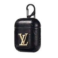 LV Fashion Popular AirPods Bluetooth Wireless Earphone Case Protector (No Headphones) Black