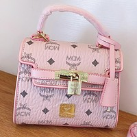 MCM Fashion New More Letter Print Leather Shoulder Bag Crossbody Bag Handbag Pink
