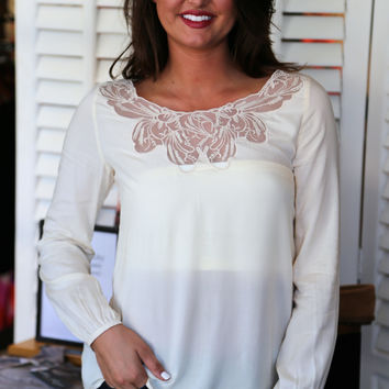Sweet Tea Sippin' Blouse {Ivory}