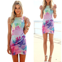 Rainbow Colored Floral Dress