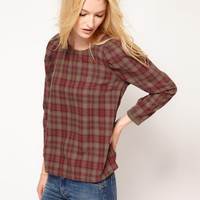 BA&SH Shell Top in Plaid with Puff Sleeve Detail at asos.com