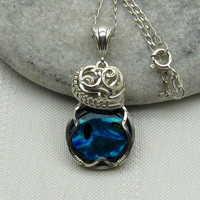 Blue Paua Shell Necklace  Pendant  Abalone  Wire by StoneNest