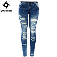 2045 Youaxon Women`s Celebrity Style Fashion Blue Low Rise Skinny Distressed Washed Stretch Denim Jeans For Women Ripped Pants