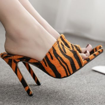 New pointed horsehair stilettos with zebra-print leopard print sandals