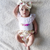 Baby girl clothes Summer Brand kids clothes baby girl clothing set lace vest + shorts 3pcs infant clothing