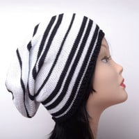 fashion white black slouchy hat cotton beanie mens hats knit hat summer beanie boyfriend gift for him womens hat gifts for her stripped hat