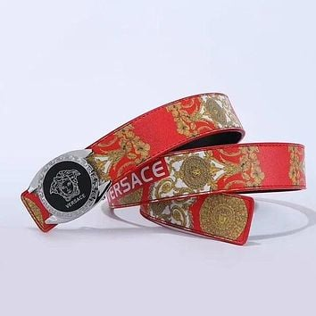 Versace hot sale classic print couple leather belt Red