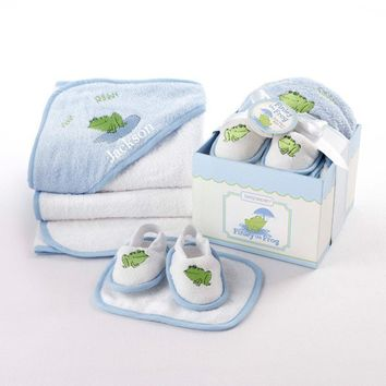 Baby Frog Four-Piece Bathtime Gift Set - Whimsical & Unique Gift Ideas for the Coolest Gift Givers
