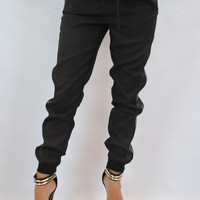 (ang) Leatherette stripe black jogger pants