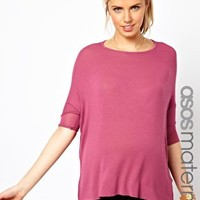 ASOS Maternity Exclusive Loose Knit Drape Top With 3/4 Sleeve at asos.com