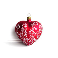 Red Heart: Hand Painted glass Heart shaped ornament Red and white