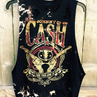 JOHNNY CASH size medium slashed, bleached, cut summer band tee, concert tee, country music
