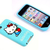 Smile Case Hello Kitty Light Blue Silicone Full Cover Case for iPod Touch 4 4G iTouch 4 4G (it-HK Light Blue Silicone)