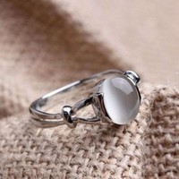 PEAPYV2 Fashion Woman Jewelry Gemstone White Gold Plated Wedding Rings