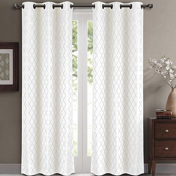 White Willow Blackout Window Curtain Panels (Two Panels )