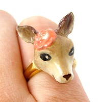 Bambi Deer Shaped Enamel Animal Ring with Floral Detail in Size 6 | Limited Edition