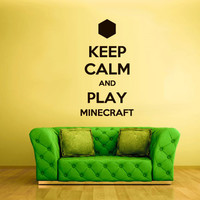 Wall Vinyl Sticker Decals Decor Art Words Sign Quote Keep Calm Minecraft Play Creeper Video Game (z2590)
