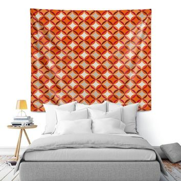 Wall Tapestry By Julia Grifol Circles Red