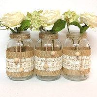 3 burlap and lace mason jars - home decor, wedding decor, country style vases, unique decor
