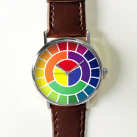Color Wheel Watch Watches for Women Men Leather Ladies Jewelry Accessories Gift  Spring Fashion Personalized Unique Vintage Chart Theory