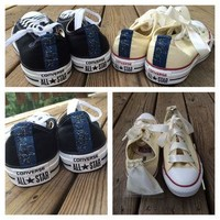 Bride Groom Converse Wedding Custom Painted Converse Shoes Two Pairs