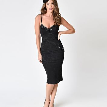 Janie Bryant For Unique Vintage Black Sweetheart Pearl Tallulah Wiggle Dress