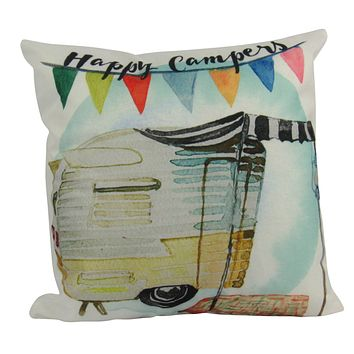 Happy Camper | Yellow | Pillow Cover |  Camper Decorations | Throw Pillow | Vintage Camper | Camper Gifts | Camper Decor | Gift Ideas