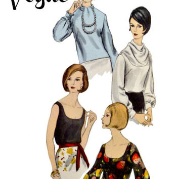 60s Vogue Blouses Pattern 6283 Scoop Neckline Sleeveless Long Sleeves Cowl Drape Tie Collar Vintage Sewing Patterns Uncut Size 18 Bust 38