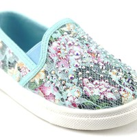 Toddler Girls Zula Floral Lace Slip On Canvas Studded Shoes FHX-08I Teal