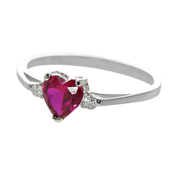Heart Ring .925 Sterling Silver Cubic Zirconia Red Womens Costume Jewelry