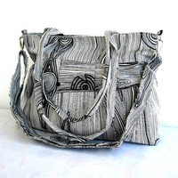 Grey BagPleated BagLargeDouble Straps and Adjustable to by marbled