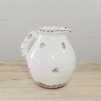 """Distressed Chubby White Crackle Pitcher 9"""" H"""