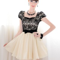 Romantic Square Neck Bowknot Puff Short Sleeve Mini Dress