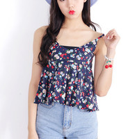 Navy Blue Floral Strapless Blouse