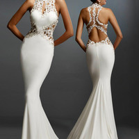 White Floral Lace Cut-out Mermaid Evening Gown