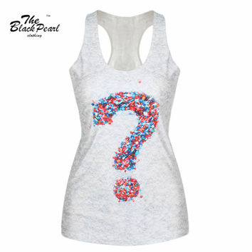Chocolate Candy Question Mark Round Neck Sleeveless Tank