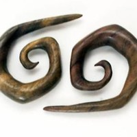 Pair Handmade Organic Wood Tribal Spiral Curled Hanger Ear Gauge Plugs 8G - 1""