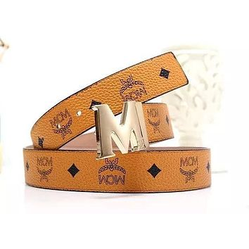 MCM Waistband Tide brand wild men and women classic print smooth buckle belt brown