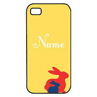 Springtime Primary Color Bunnies iPhone 4 / 4s Case with Monogram