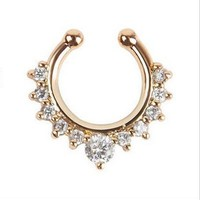 Alloy Rhinestone Nose Hoop Nose Rings Body Piercing Jewelry Fake Septum Clicker Non Piercing Hanger Clip On Jewelry  SM6