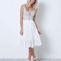 New Romantic Lace Midi Skirt - White