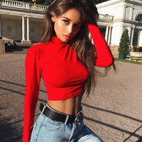 Women's Fashion Autumn Hot Sale Sexy Crop Top T-shirts [69597855759]