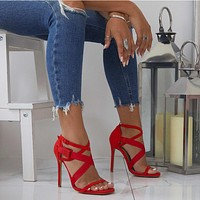 Strappy Ankle Open Toe Cutout Sandals