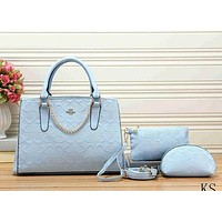 Perfect Coach Women Shopping Leather Tote Crossbody Satchel Shoulder Bag Set Three Piece