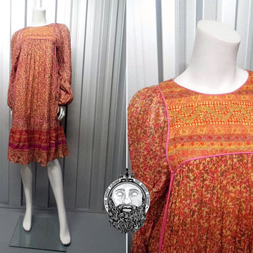 Vintage 70s INDIAN COTTON Gauze Roshafi Quilted Ethnic Hippy Dress 1970s Boho Sheer Paisley Print Made in India Gypsy Bell Dress Bohemian