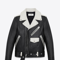 CLASSIC MOTORCYCLE JACKET IN BLACK and White LEATHER