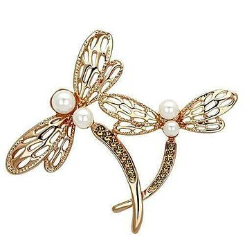 Vintage Brooches LO2837 Flash Rose Gold White Metal Brooches with Synthetic