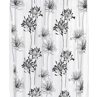 "Royal Bath Autumn Flowery Design Cologne Fabric Shower Curtain with Poly Taffeta Flocking in Black/White Size: 70"" x 72"""